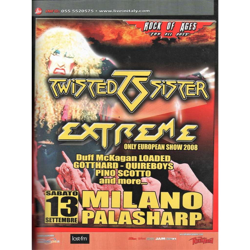 Twisted Sister / Extreme / Quireboys Milano Palasharp 13.09.2008 (Italian 2008 promo type advert concert poster flyer!!)