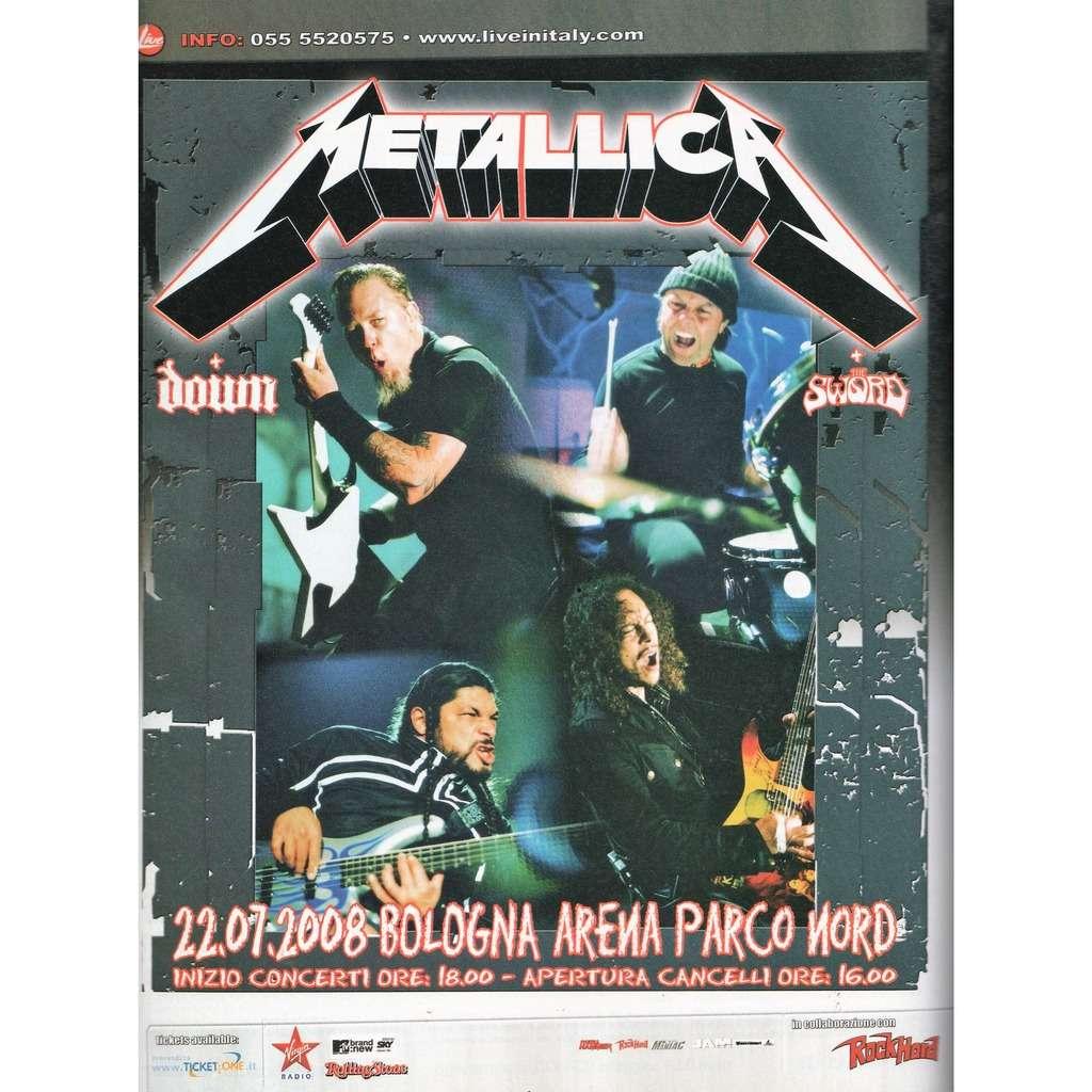 Metallica Bologna Arena Parco Nord 22.07.2008 (Italian 2008 promo type advert concert poster flyer!!)