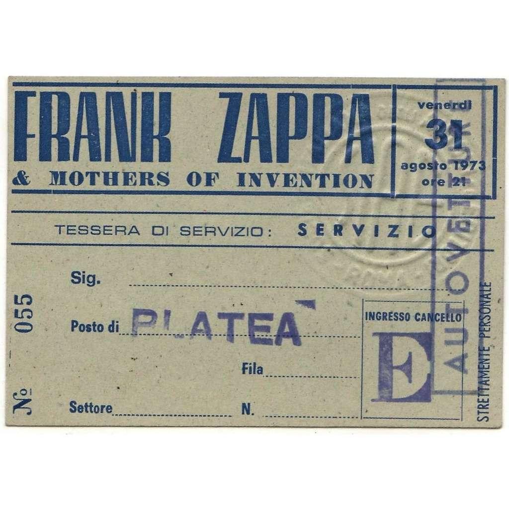 Frank Zappa / Mothers Of Invention Roma PalaEur 31.08.1973 (Italian 1973 original 'band members' concert 'Autovettura (Car)' pass!!)