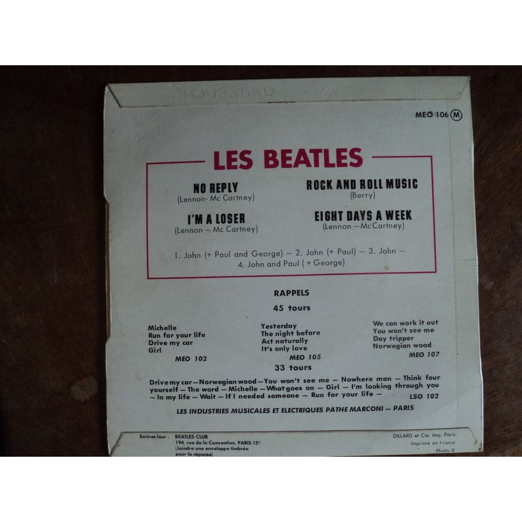 THE BEATLES LES BEATLES 1965 eight days a week + 3 ('label rouge)