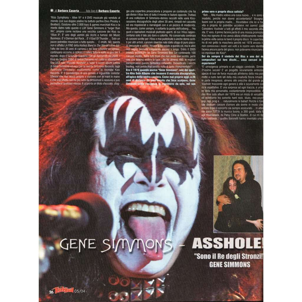KISS / Gene Simmons Rock Hard (N.22 May 2004) (Italian 2004 music magazine!!)
