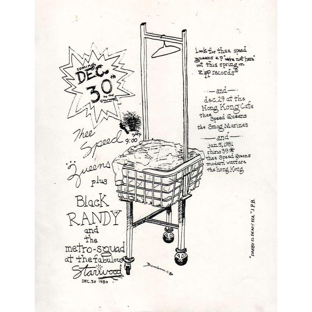 Speed Queens / Black Randy Starwood 30.12.1980 (USA 1980 original promo punk concert punk flyer!)