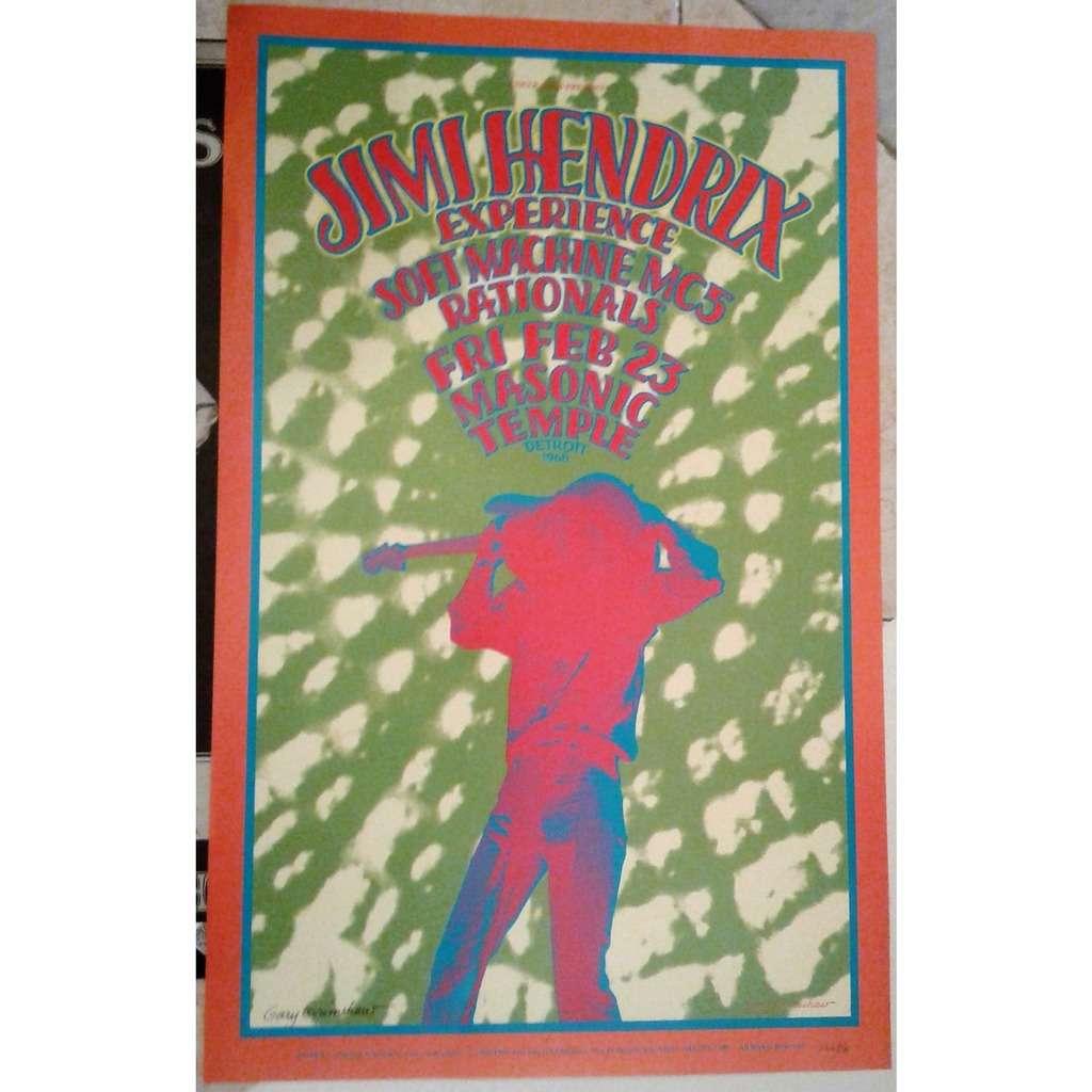 Jimi Hendrix / Soft Machine / MC5 Masonic Temple Detroit 25.02.1968 (USA Official 2nd printing Grimshaw Signed Concert poster!)