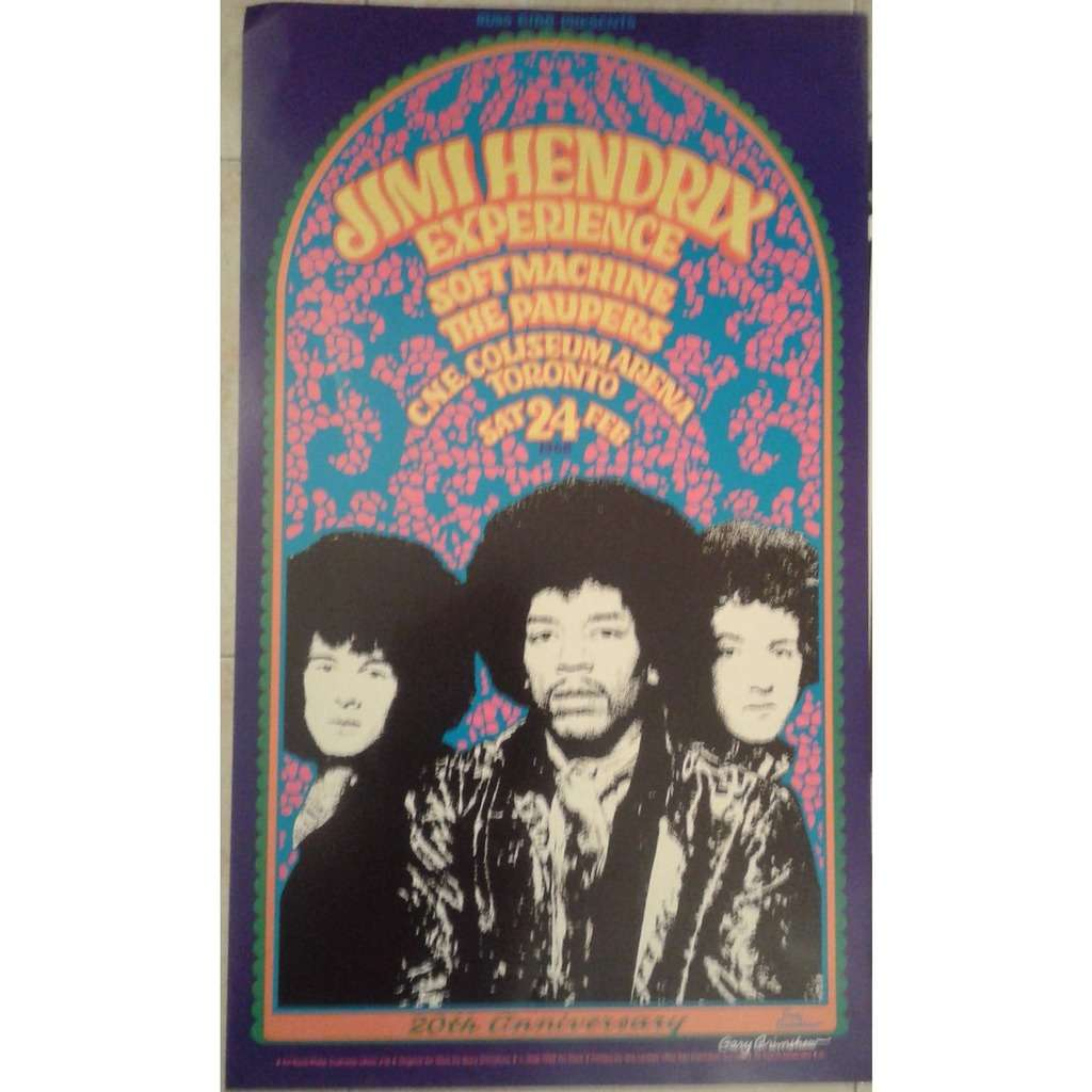 JIMI HENDRIX Experience / Soft Machine / The Paupe CNE Coliseum Arena Toronto 24.02.1968 (USA Official 20th anniversary Grimshaw Signed Concert poster)