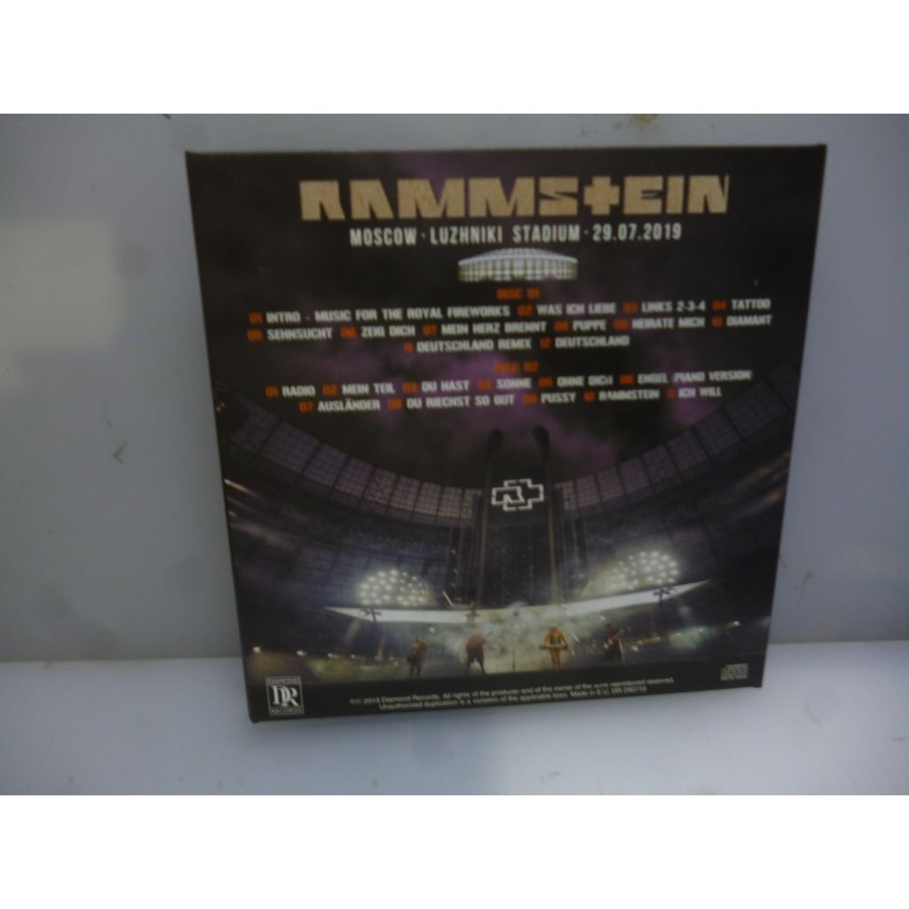 Rammstein Moskow. Luzhniki Stadium 29.07.2019. Moskow, Russia 2019. EU 2019 2CD Digipack.