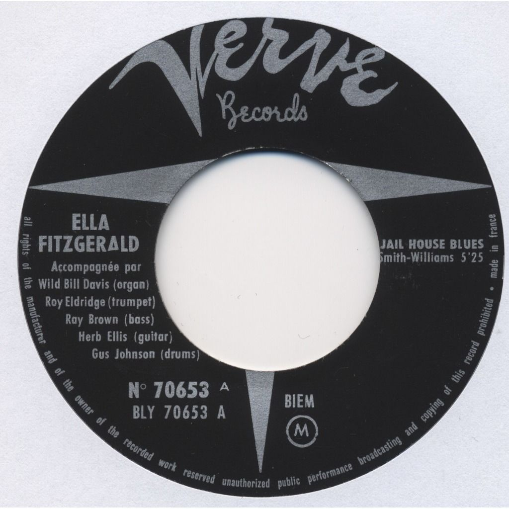 ELLA FITZGERALD Jail House Blues / Cherry Red / See See Rider (French EP) + languette