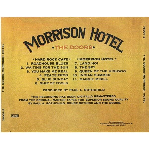 The Doors Morrison Hotel CD (rare early Russian edition from 1996) Matrix: SG-1010-96
