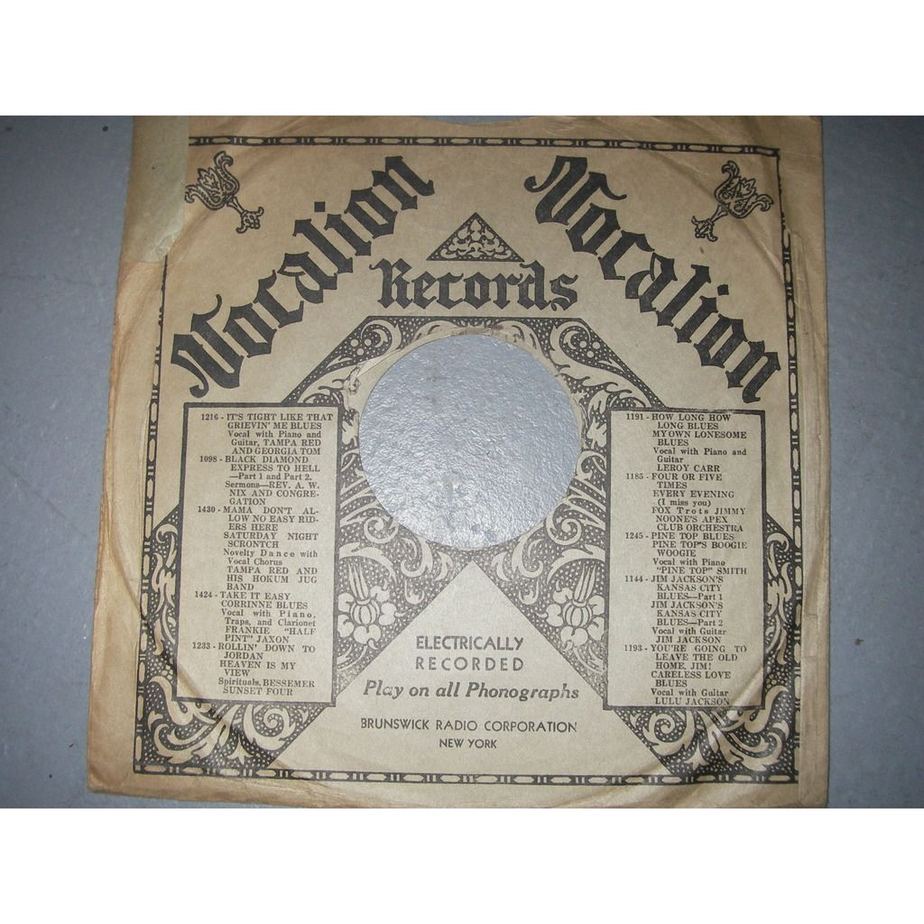 VOCALION 78 rpm cover