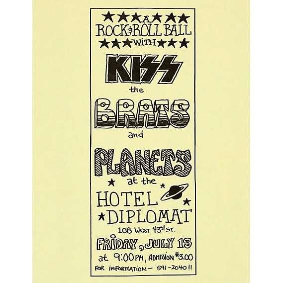 KISS Hotel Diplomat 13.07.1973 (USA 1973 original promo concert poster flyer!)