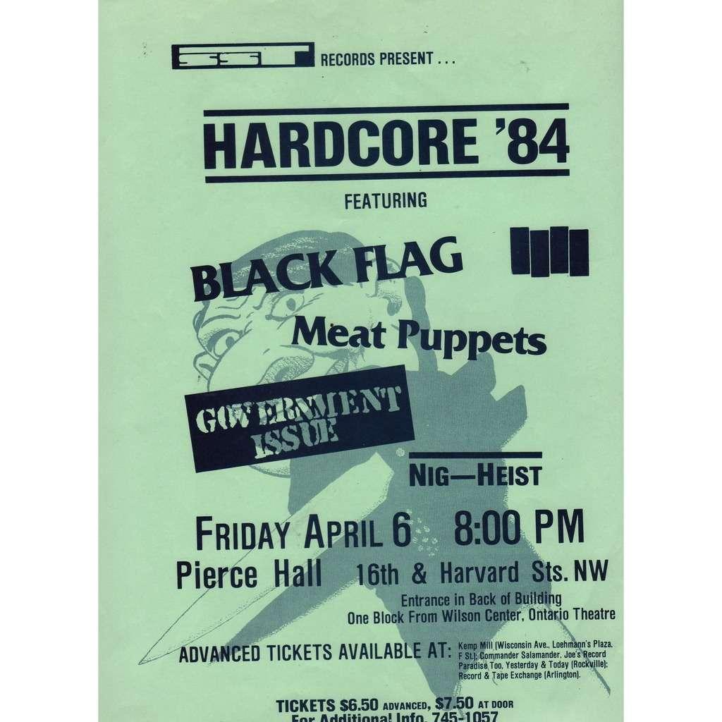 Black Flag / Meat Puppets Pierce Hall Washington D.C. 06.04.1984 (USA 1984 original promo punk 'SST' concert poster flyer!)