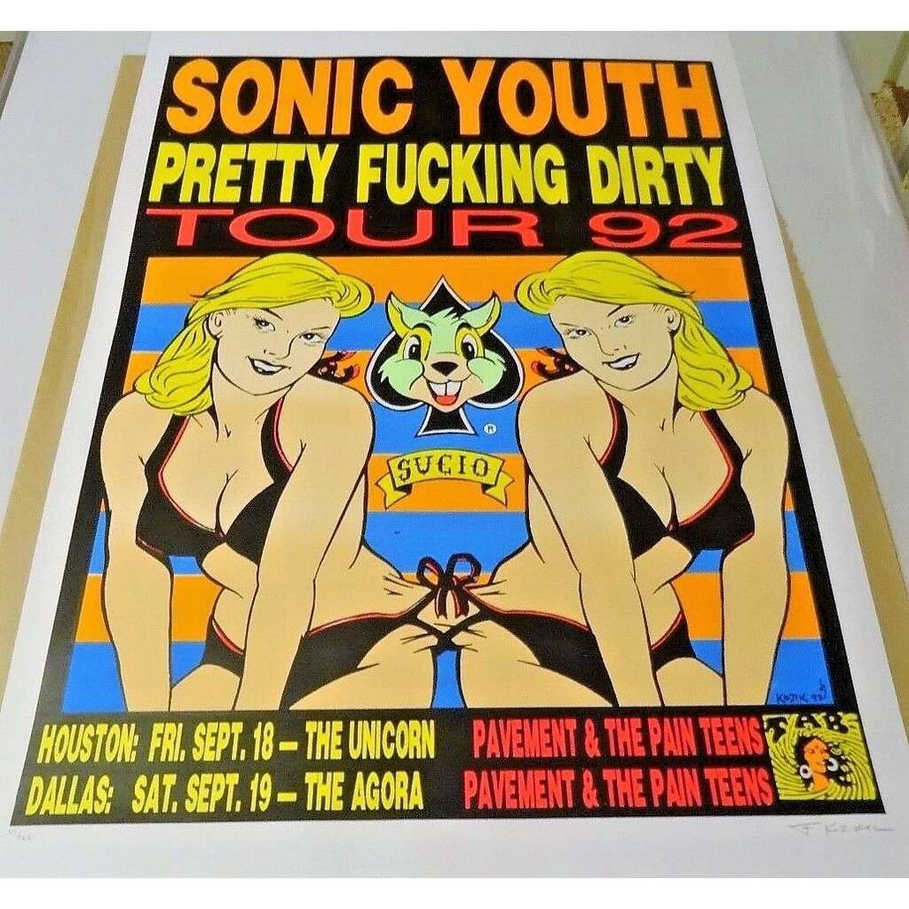 Sonic Youth Pretty Fucking Party Tour 1992 (USA 1992 original Ltd 500 'Kozik' signed concert Tour poster!)