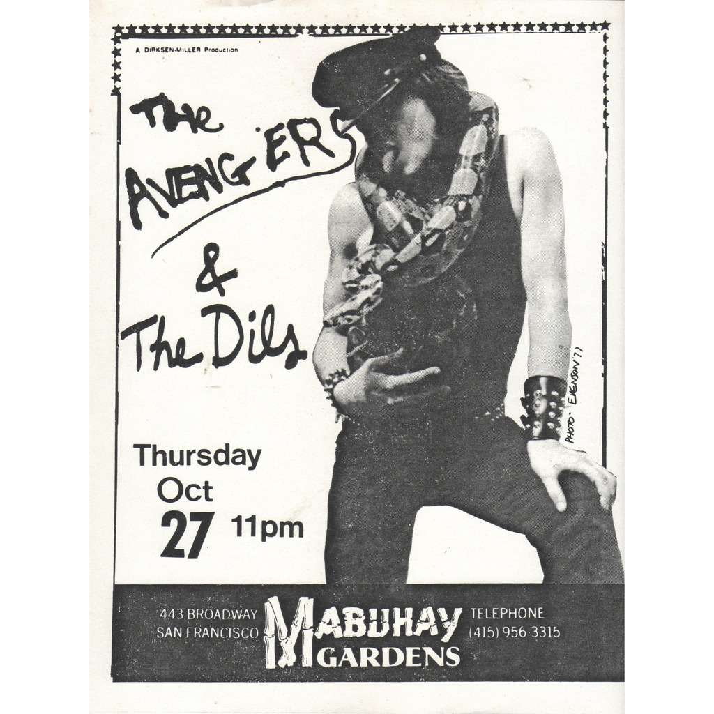 The Avengers / The Dils Mabuhay Gardens 27.10.1977 (USA1977 original promo punk concert poster flyer!)