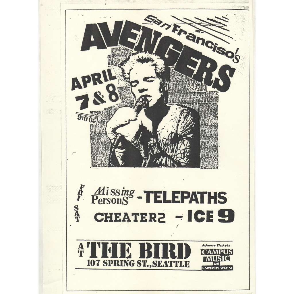 The Avengers / Missing Persons At The Bird Seattle 7 & 8.04.1978 (USA 1978 original promo concert punk poster flyer!)