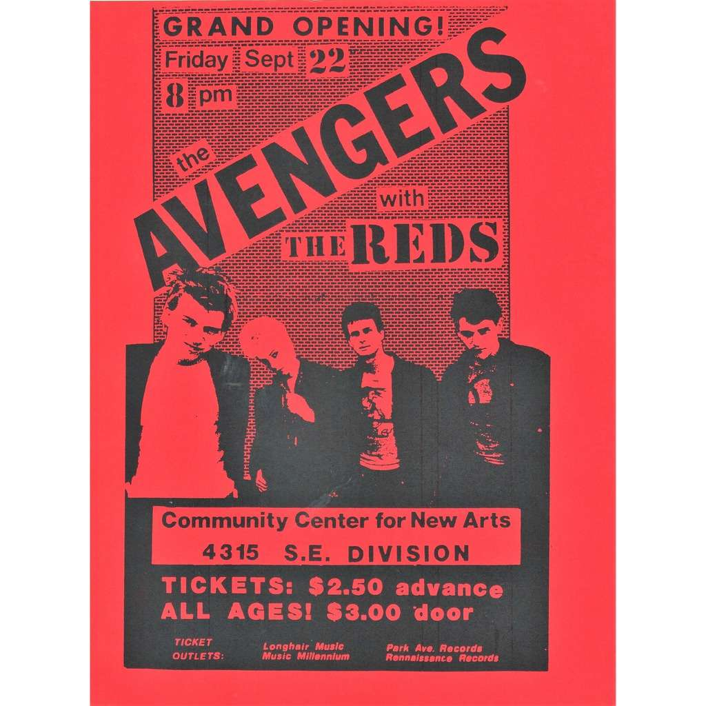 The Avengers / The Reds Community Center For New Arts 22.09.1978 (USA 1978 original promo punk concert poster flyer!)