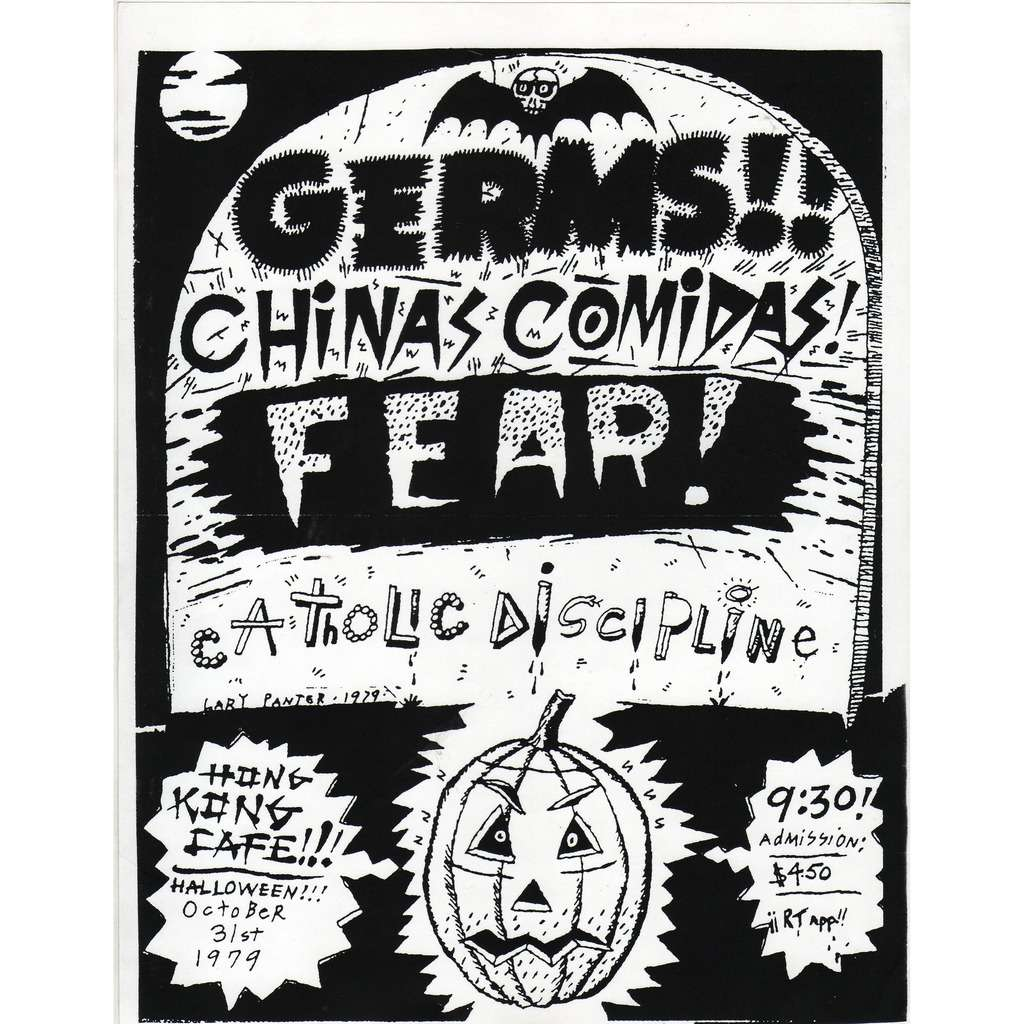 Germs / Chinas Comidas Fear / Catholic Discipline Hong Kong Cafe '31.10.1979 (USA 1979 original promo concert punk poster flyer!)