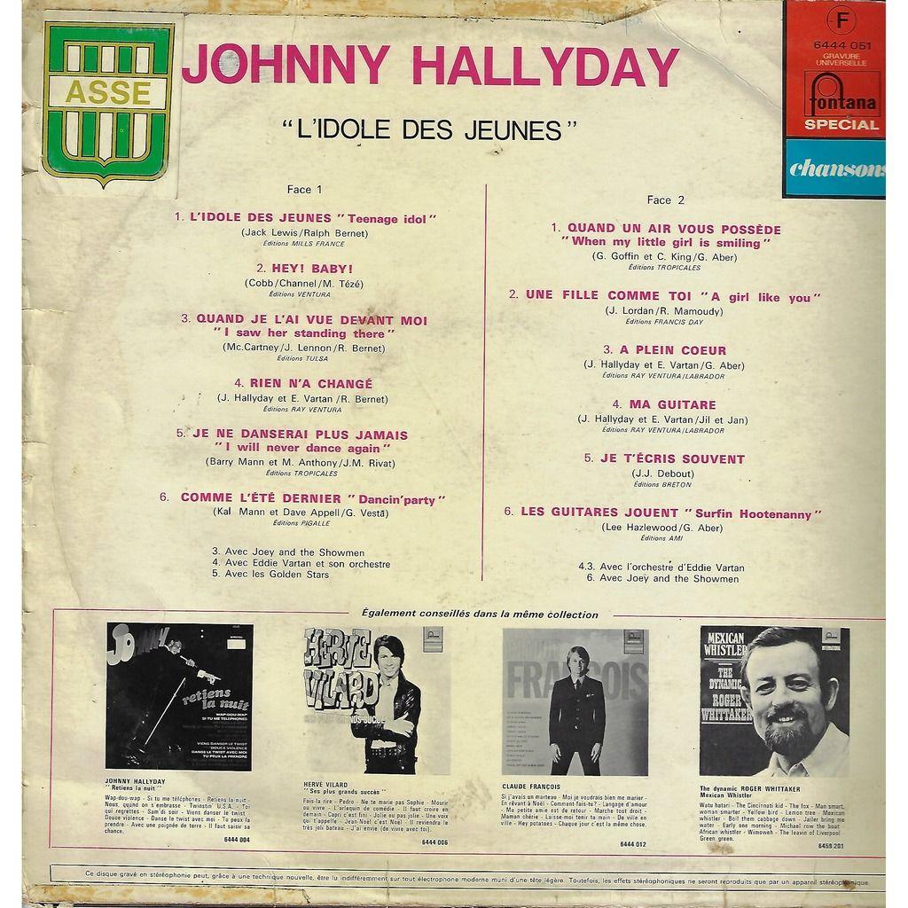 HALLYDAY Johnny L'Idole des jeunes / Hey baby / quand je l'ai vu devant moi