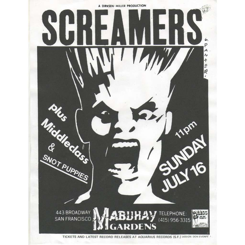 Screamers / Middle Class / Snot Puppies Mabuhay Gardens S.Francisco 06.06.1978 (USA 1978 original promo concert punk poster flyer!)
