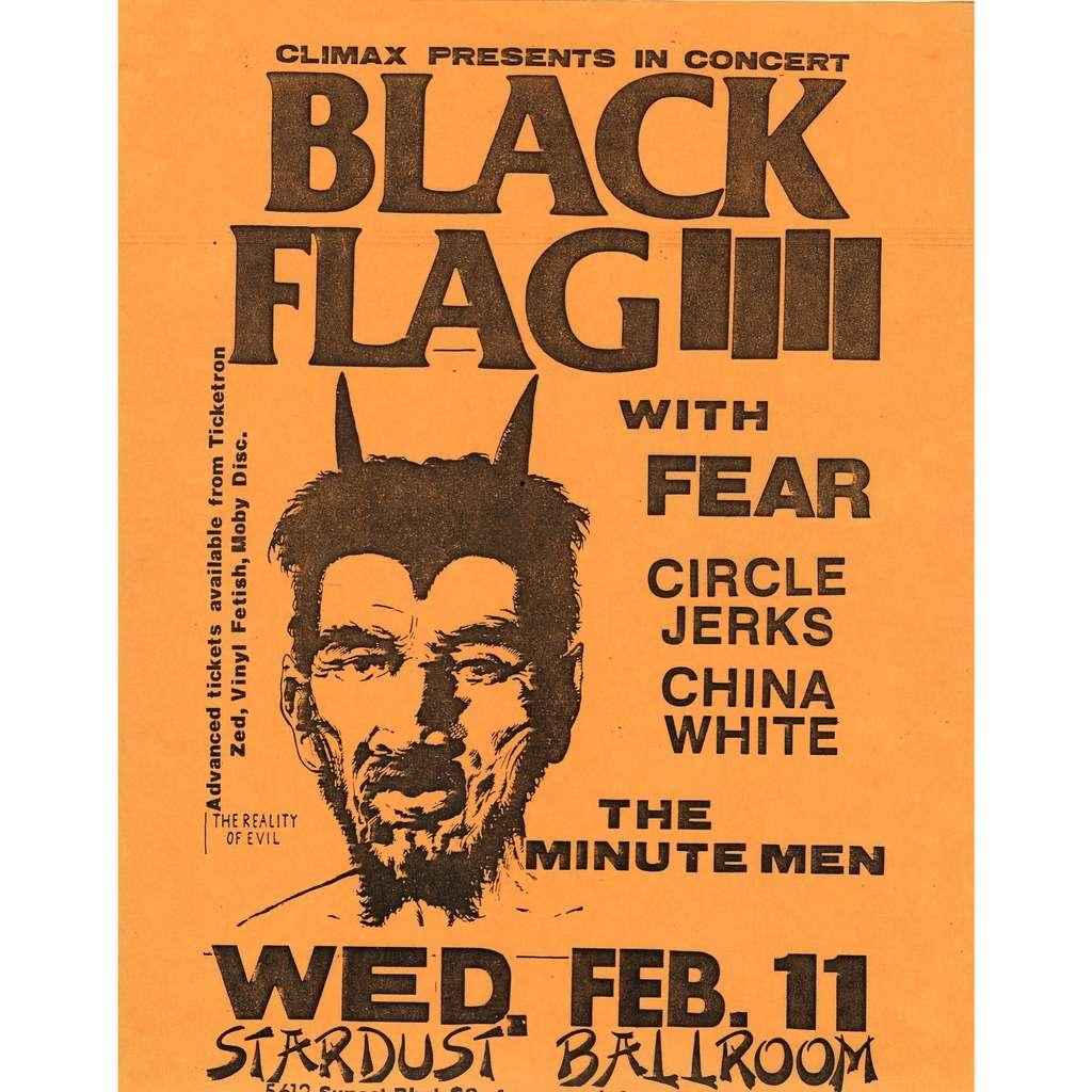 Black Flag / Fear / Circle Jerks / China White Stardust Ballroom 11.02.1981 (USA 1981 original promo yellow poster concert punk flyer!!)