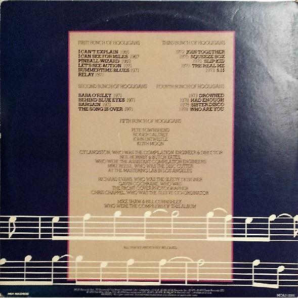 The Who Hooligans )USA 1981 original 19-trk 2LP set on MCA lbl full gf ps+inners)