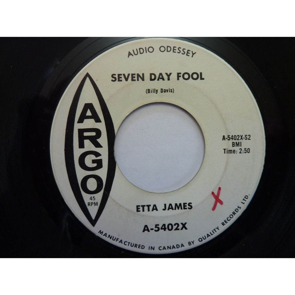 Etta James It's Too Soon To Know / Seven Day Fool