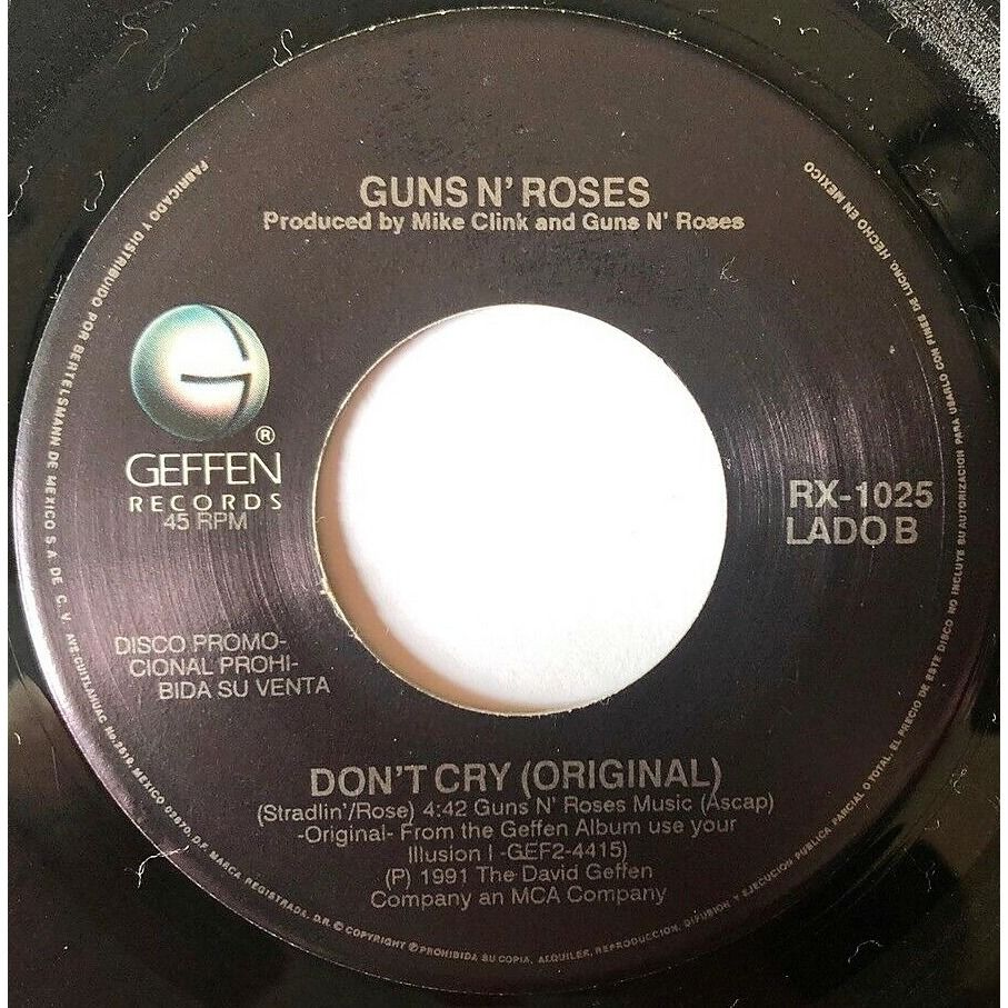 guns n' roses Don't Cry (Mexico 1991 original promo-only 2-trk 7single traslucent brown wax on Geffen lbl)