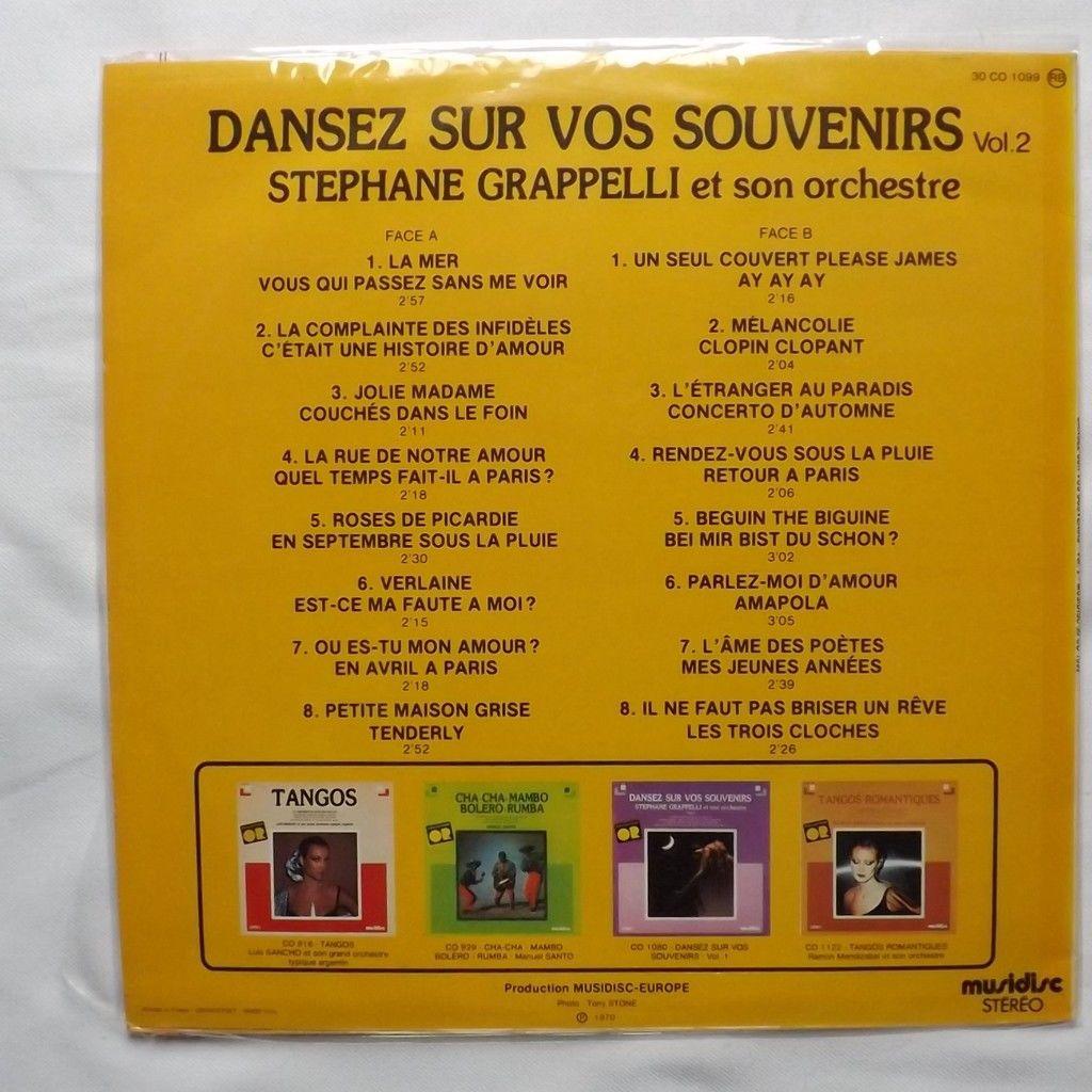 STEPHANE GRAPPELLI et son Orchestre. Dansez sur vos souvenirs. Vol 2.