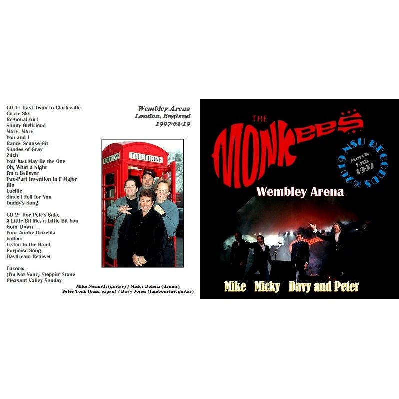 THE MONKEES LIVE AT WEMBLEY ARENA IN LONDON ENGLAND 1997 MARCH 19th 2 CD