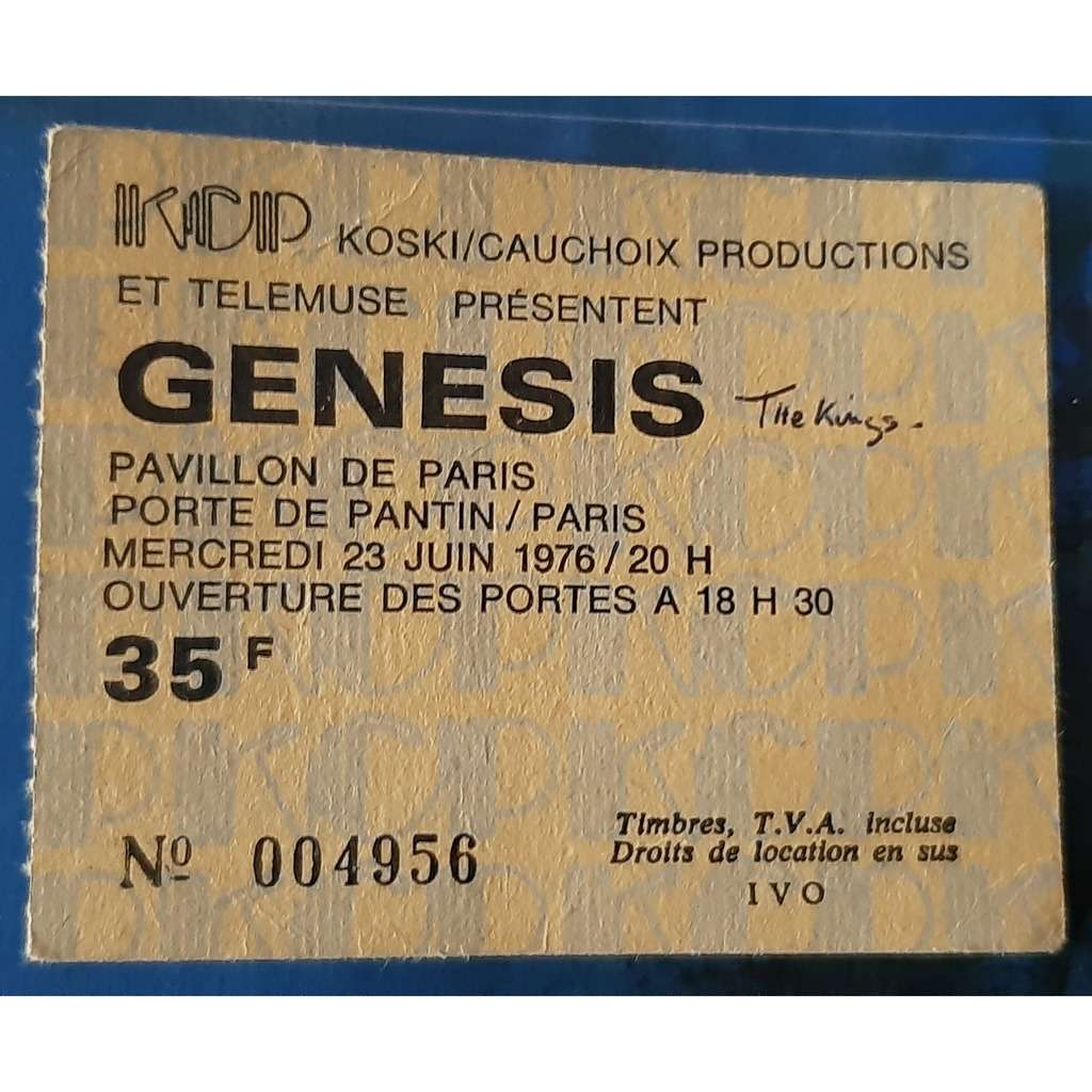 GENESIS ticket billet place concert GENESIS 1976 PARIS