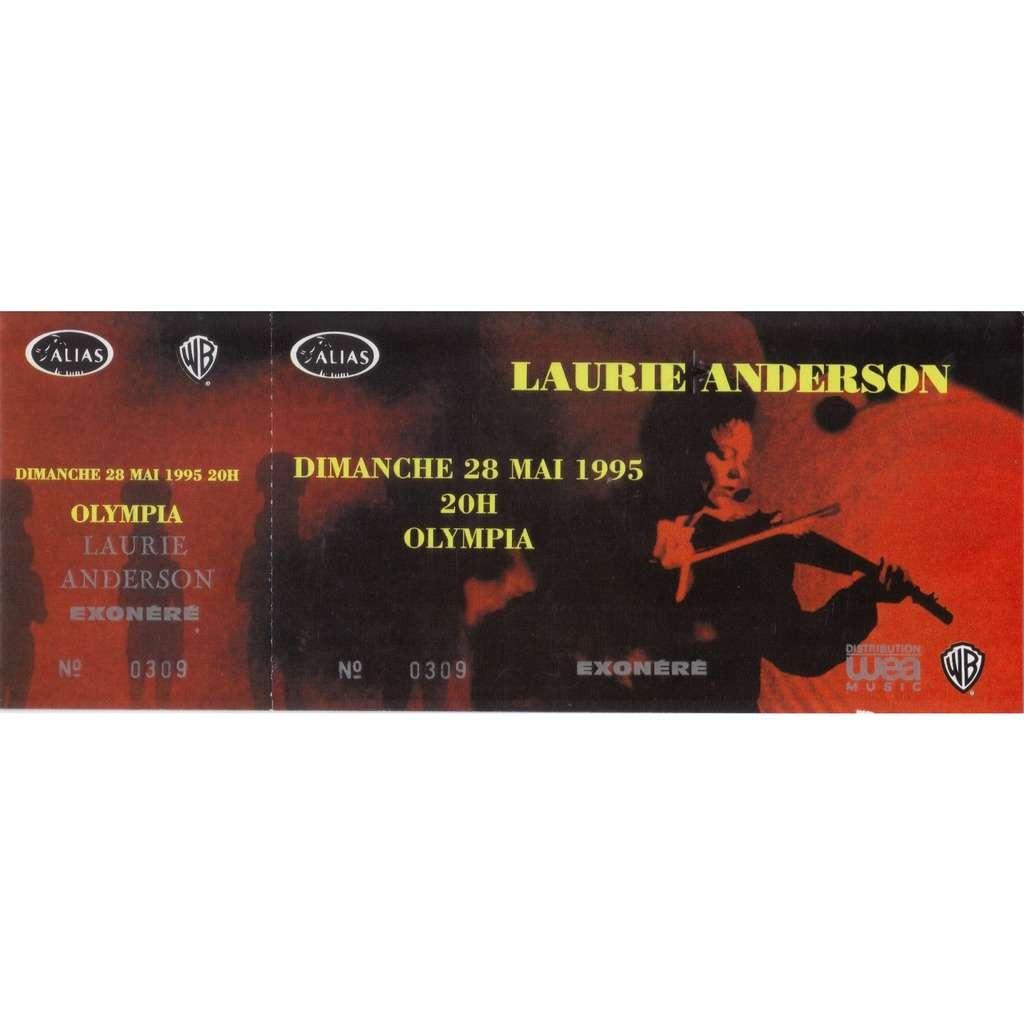 LAURIE ANDERSON ticket billet UNUSED place concert LAURIE ANDERSON 1995 PARIS