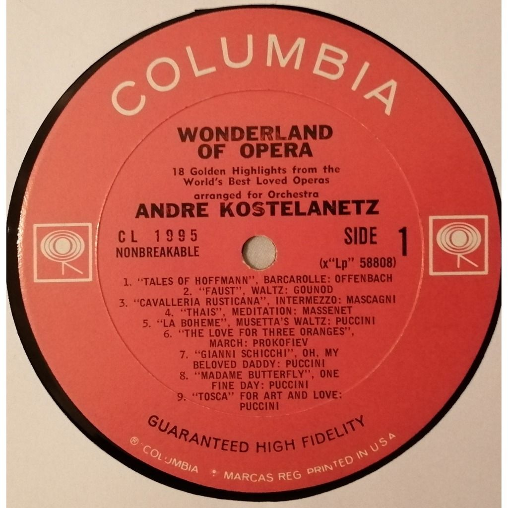 ANDRE KOSTELANETZ Wonderland of Opera - 18 Golden Highlights from the World's Best Loved Operas