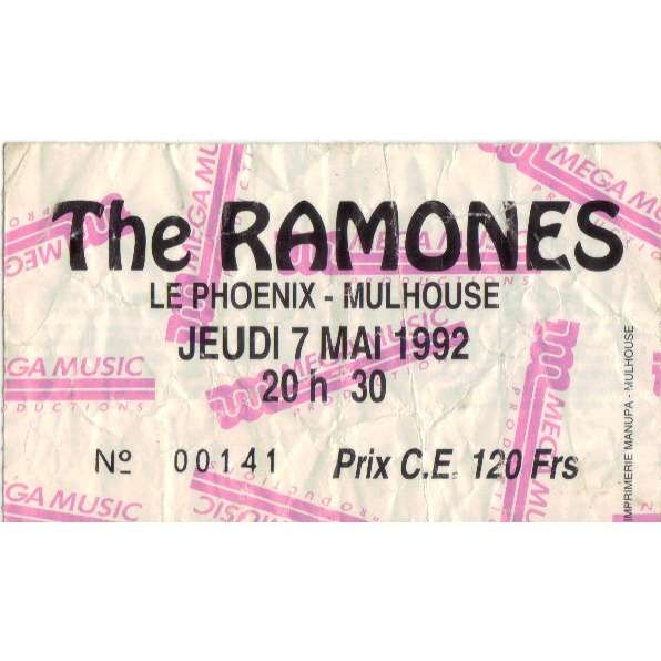 THE RAMONES ticket billet place concert THE RAMONES 1992 MULHOUSE FRANCE