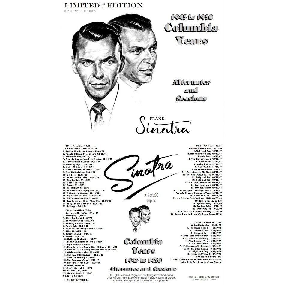 frank sinatra THE COLUMBIA YEARS 1943 TO 1950 ALTERNATES AND SESSIONS LTD # 4 CD