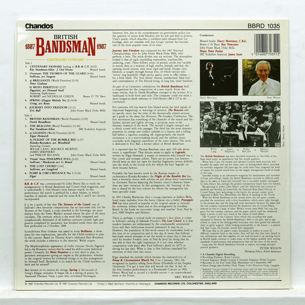Harry Mortimer, CBE British Bandsman 1887 – 1987 / Centenary Concert