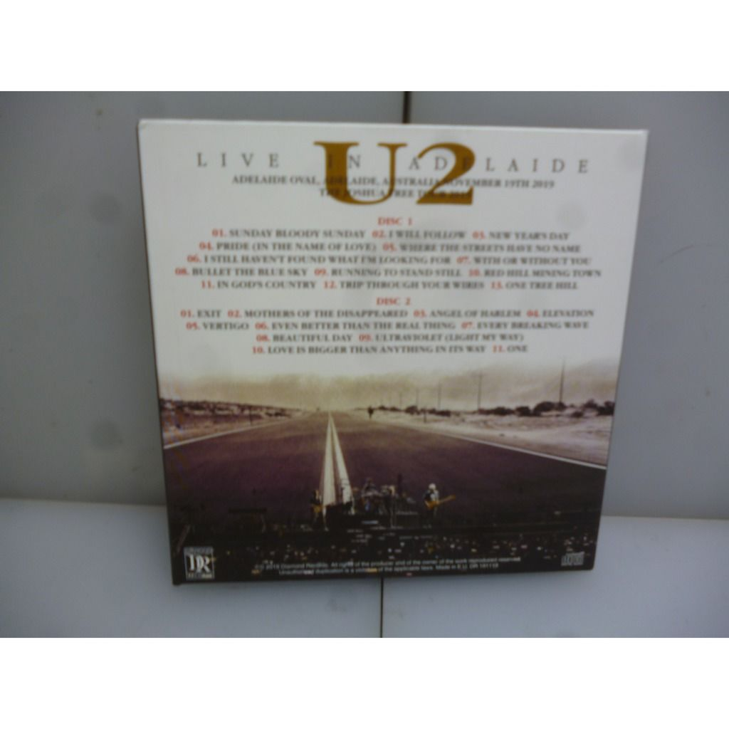 U2 The Joshua Tour 2019. Live In Adelaide. Adelaide, Australia 2019. EU 2019 2CD Digipack.