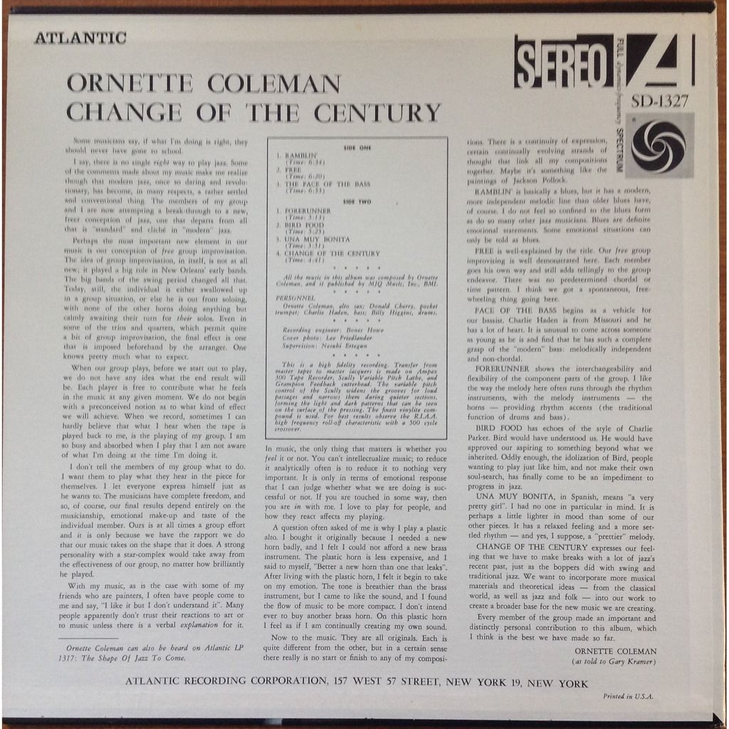 Ornette Coleman Don Cherry Billy Higgins C. Haden Change Of The Century