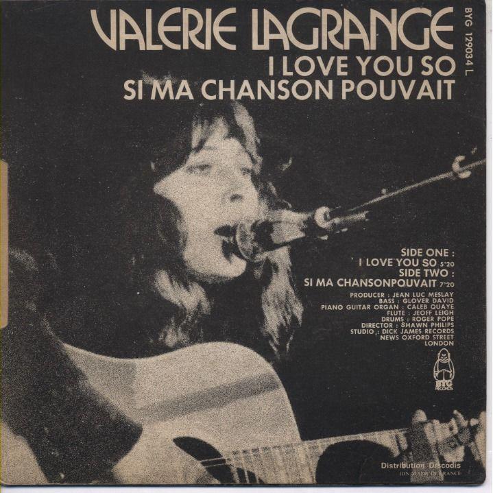 VALERIE LAGRANGE I Love You So / Si Ma Chanson Pouvait + CD-R Director: Shawn Philips