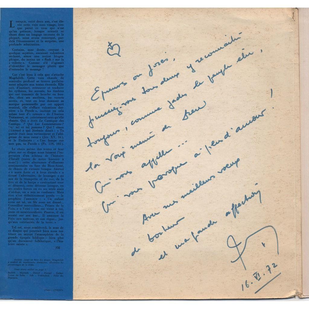 MAGDALITH (Madeleine Lipszyc) L'Heure Des Prophètes (Grand Prix 1961) + DEDICACE / Cover : Nina Vidrovitch