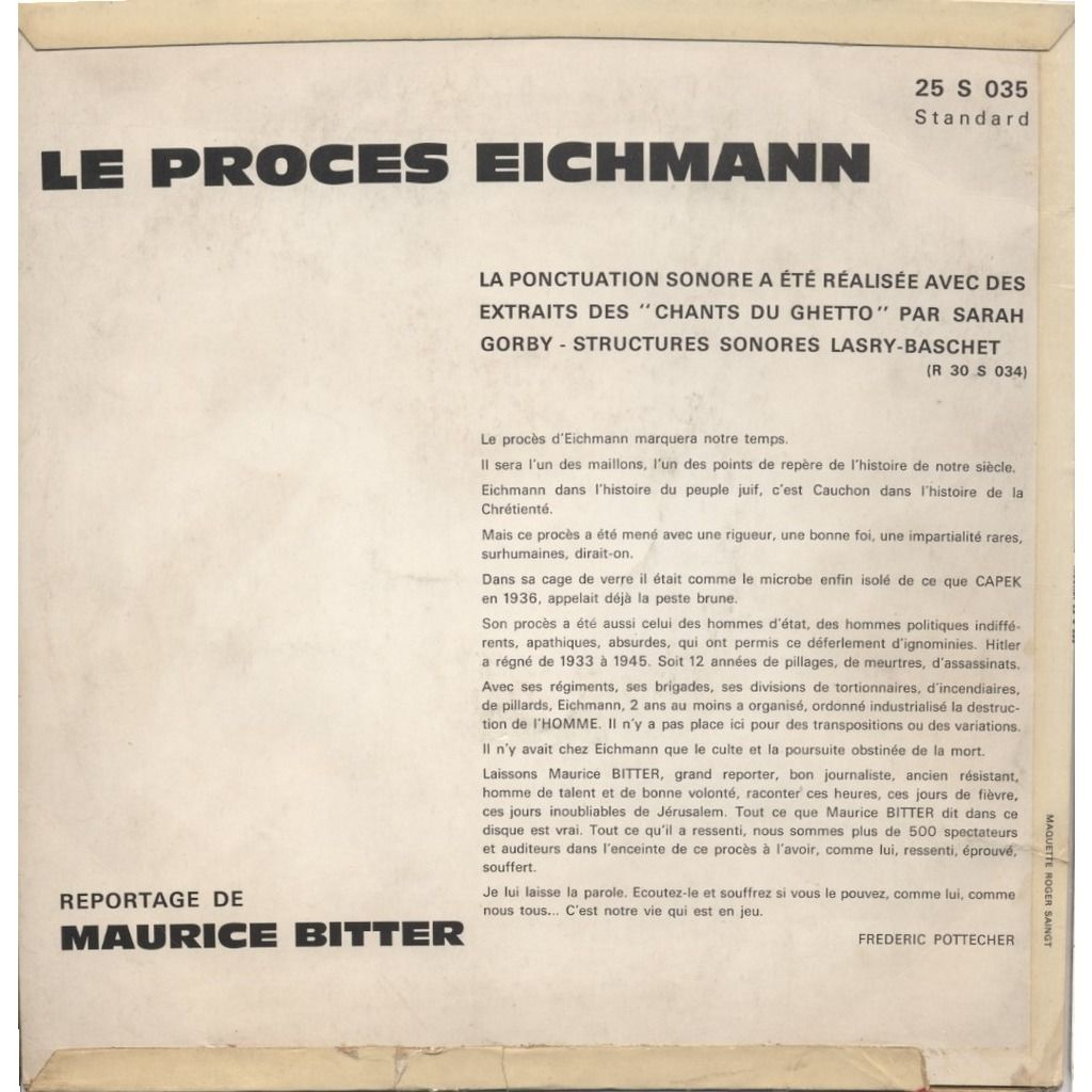 Maurice Bitter, Sarah Gorby, Lasry-Baschet Le Procès EICHMANN / Peine De Mort (Texte de Frederic Pottecher) + Structures sonores Lasry-Baschet