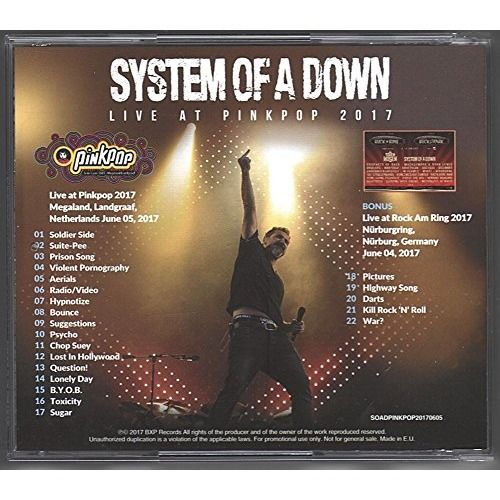 SYSTEM OF A DOWN Live at Pinkpop Festival 5 June 2017 Rock Am Ring Bonus European Tour CD
