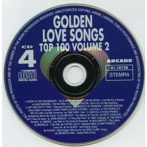 Gilbert O'Sullivan, Snowy White, Gene Pitney, Y&M Golden Love Songs Top 100 - volume 2 - Non Stop The Most Beautiful Love Songs