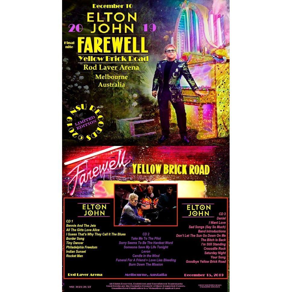 elton john FAREWELL IN MELBOURNE, AUSTRALIA 2019 DECEMBER 15, LTD 3 CD