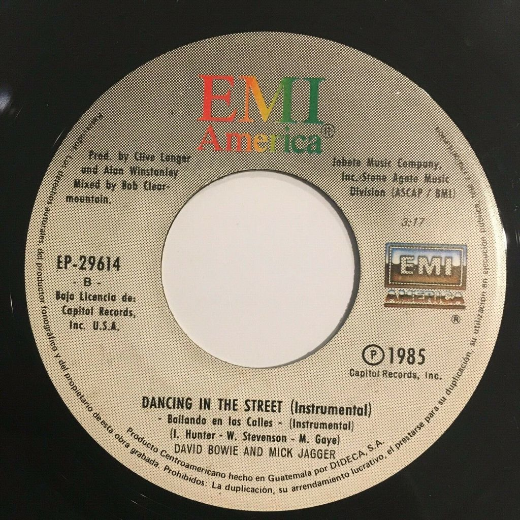 Rolling Stones / David Bowie & Mick Jagger Bailando En Las Calles (Dancing in the Street) (Guatemala 1985 2-trk 7single on spanish titles lbl)
