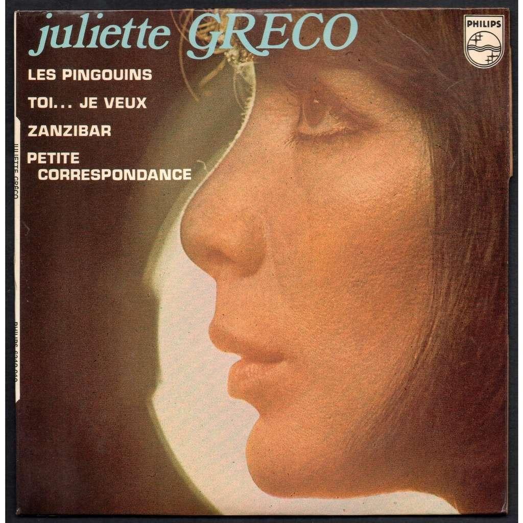 JULIETTE GRECO . ( FREDERIC BOTTON ) LES PINGOUINS - TOI JE VEUX - ZANZIBAR - PETITE CORRESPONDANCE