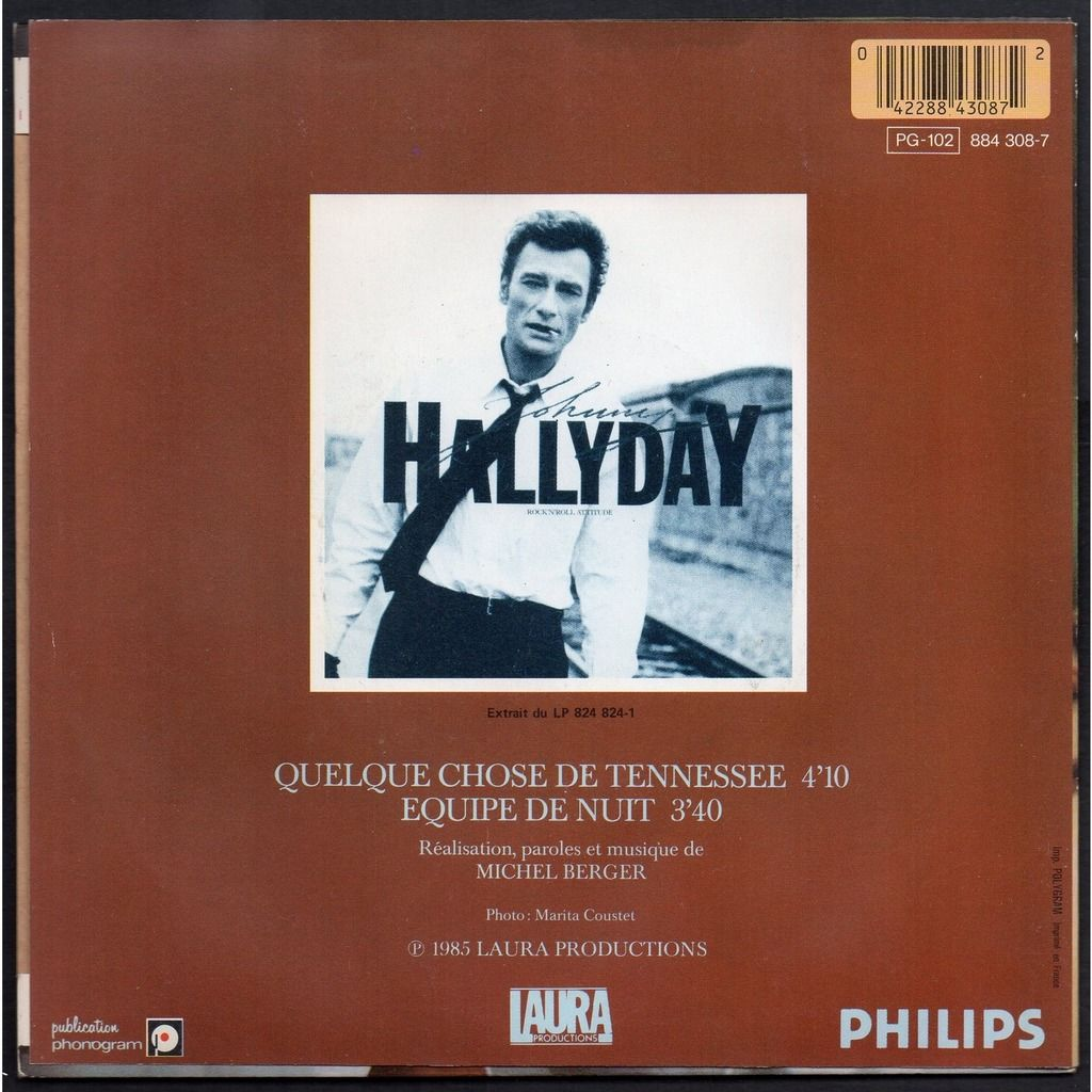 JOHNNY HALLYDAY . ( MICHEL BERGER ) QUELQUE CHOSE DE TENNESSEE - EQUIPE DE NUIT .. .. IMP. POLYGRAM