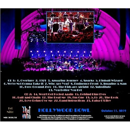 the who Live at the Hollywood Bowl 2019 (First Night) October 11th ltd 2 CD