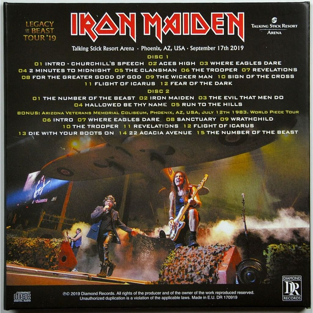 IRON MAIDEN Live In Phoenix USA 17 September 2019 Legacy Of The Beast Tour Bonus 19983 2CD Digipack
