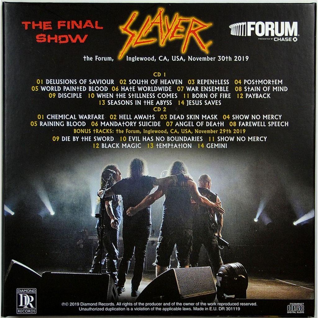 slayer Live In Inglewood USA 30 November 2019 Final World Tour Show Bonus 2CD Digipack
