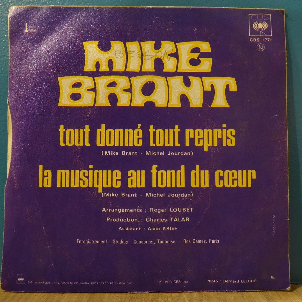 mike brant Tout donné tout repris + La musique au fond du cœur