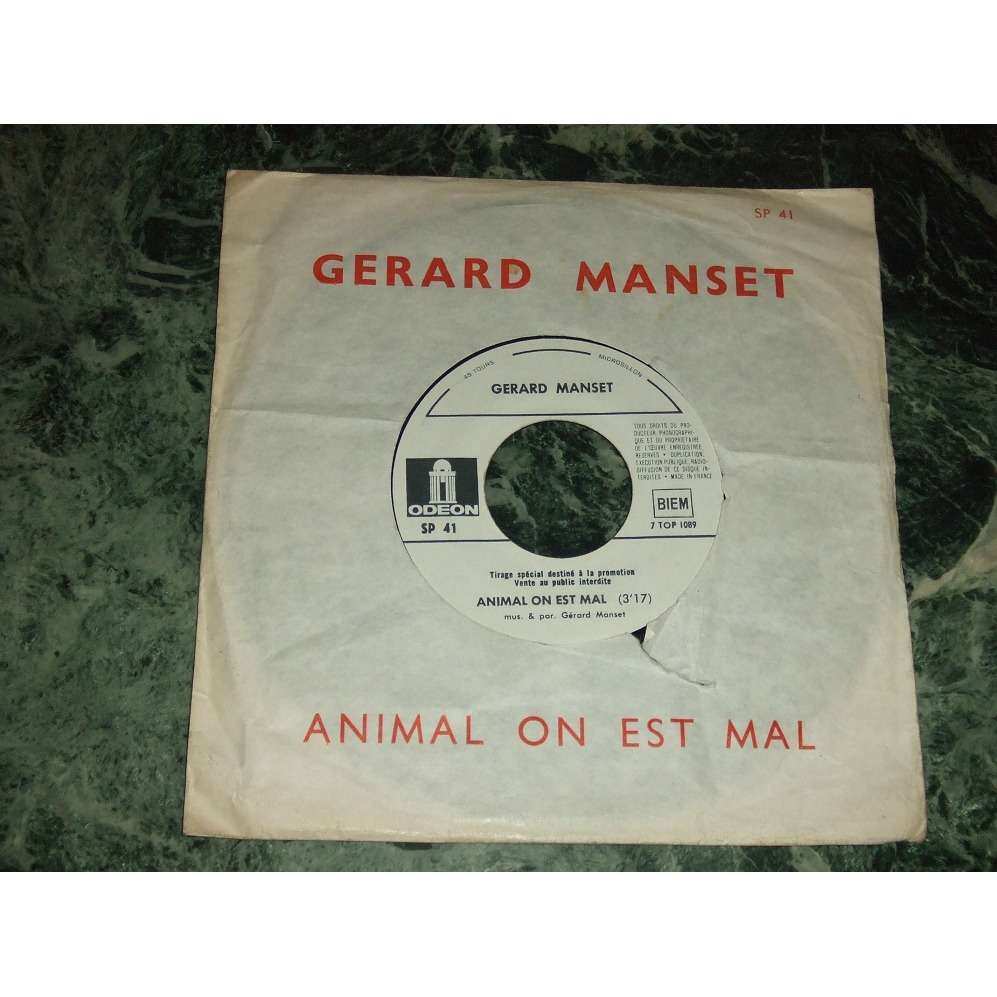 GERARD MANSET Animal On Est Mal (Promo)