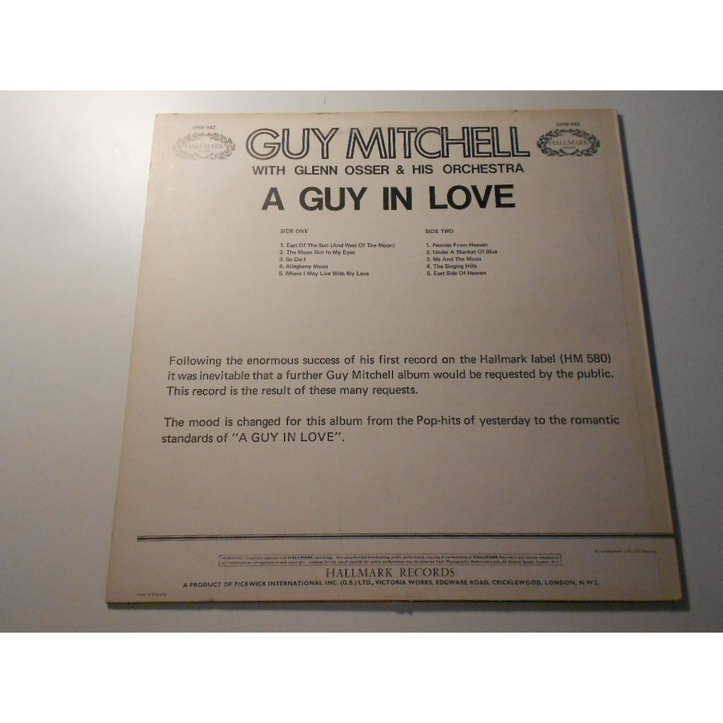 guy mitchell with glenn osser & his orchestra a guy in love
